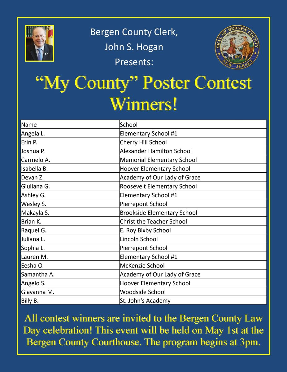 Bergen county clerk news my county poster contest winners are in reheart Images